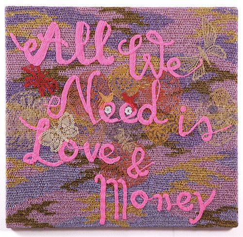 "Wonderfully funny crocheted text pieces by the artist Olek, currently on show at Jonathan Levine Gallery: ""All we Need is Love & Money"""