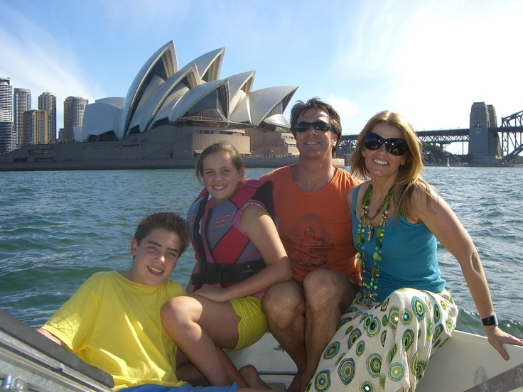 Our family on Sydney Harbour in about 2007