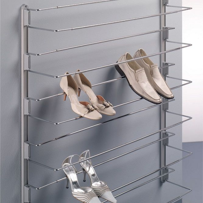 Ambos Front Access Shoe Racks help maximise use of space and keep your footwear tidy and organised. Chromed steel frame in 480-830mm or 830-1130mm width options fixes to wall or inside wardrobes, cupboards or cloakrooms.  Optional aluminium guide allows for hanging 6 shoe hangers with only 4 screws by attaching shoe hangers to guide frame, as shown here.