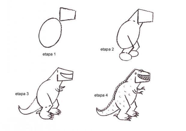 como dibujar dinosaurios faciles - Buscar con Google