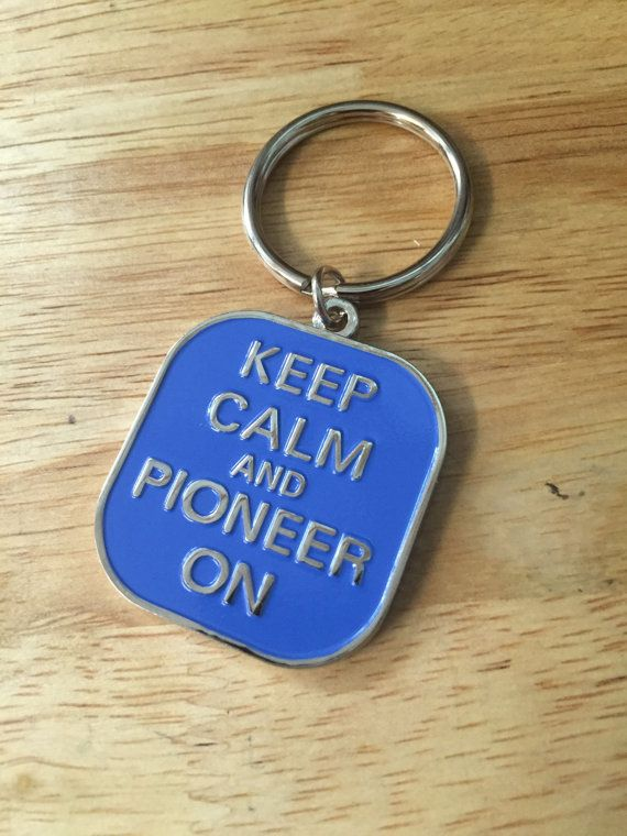 JW.org Pioneer Keychain Blue Color Keep Calm and Pioneer On with Jw.org on Back Side