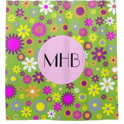 Monogram - Flowers Blossoms - Green Purple Pink Shower Curtain - shower curtains home decor custom idea personalize bathroom