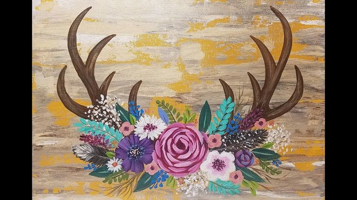 Antlers Acrylic Painting Flowers Tutorial for Beginners LIVE