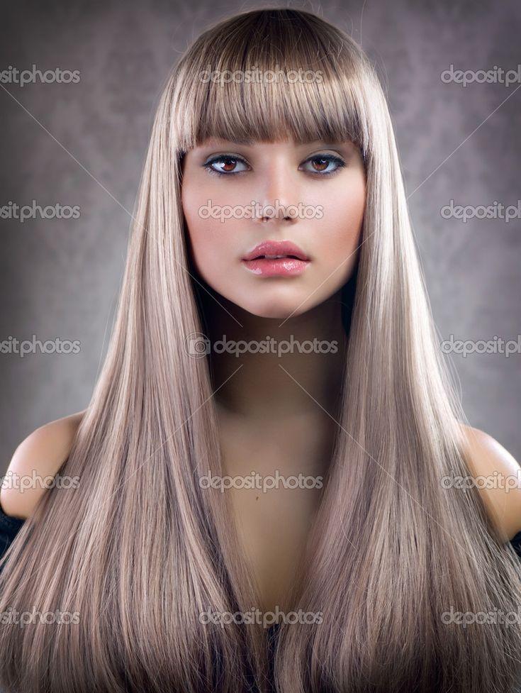 прямые светлые волосы фас