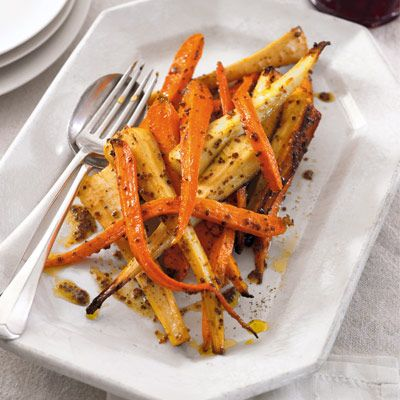 Roast carrots and parsnips with honey and mustard