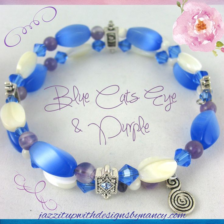 Mother of Pearl and Blue Cats Eye Beaded bracelet with Purple Amethyst and Blue Crystals