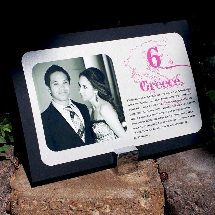 The Bree Photo, Travel & Story Table Cards - Destination Weddings - Travel - Maps - Custom Colors. $4.25, via Etsy.