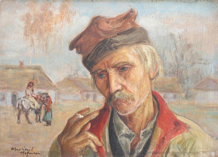 Wlastimil HOFMAN ,Krakus z papierosem , olej, sklejka, 25 x 34 cm