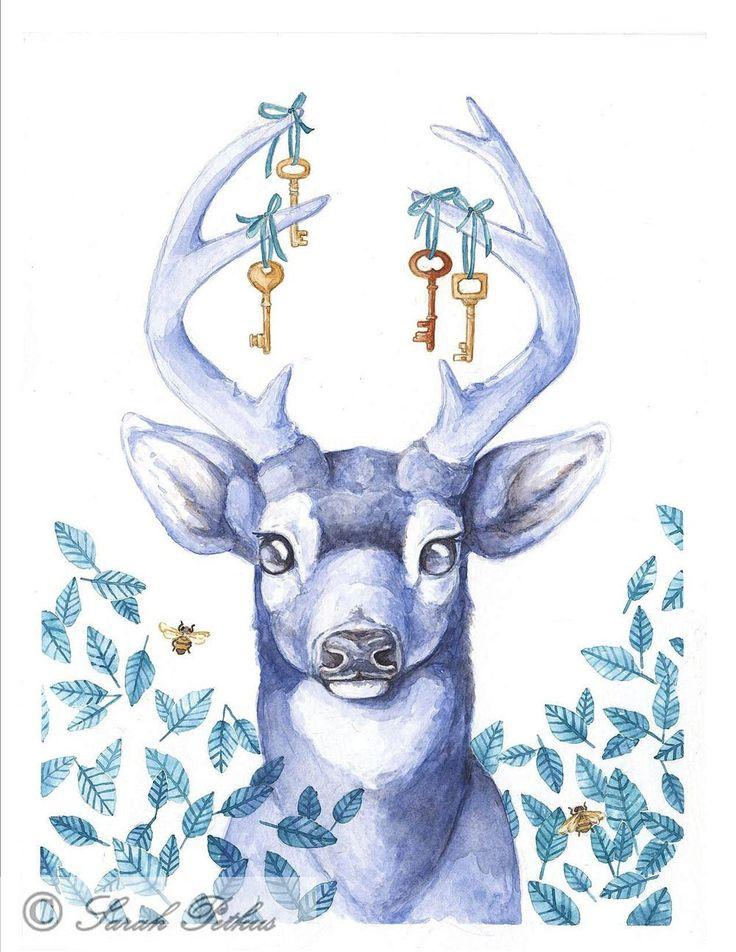 Keys to the Hart -5x7 archival deer art print. $10.00, via Etsy.
