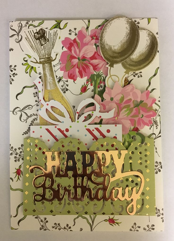 Birthday card. Anna Griffin content. Created by Sally Fisher