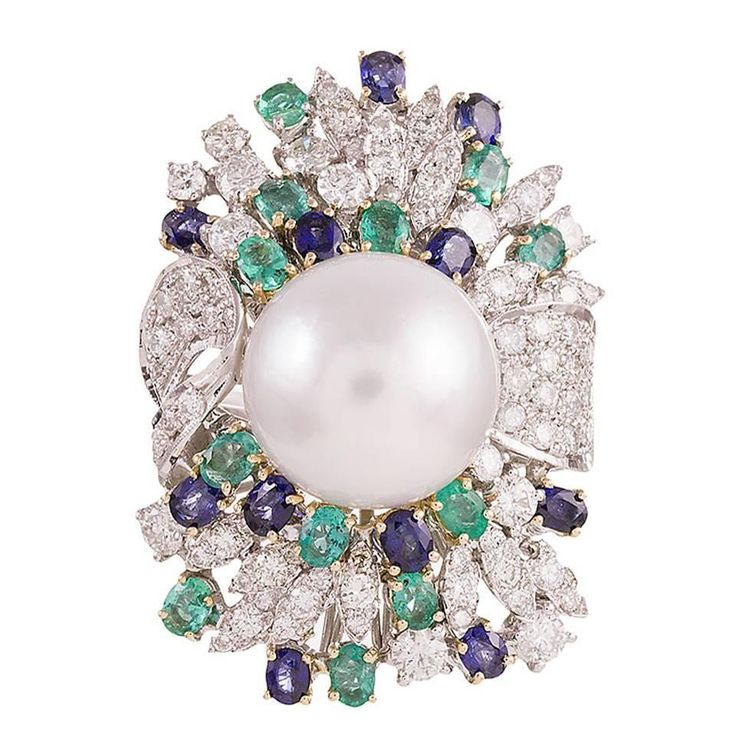 "Pearl Sapphire Emerald Diamond Gold ""Luise"" Cocktail Ring"
