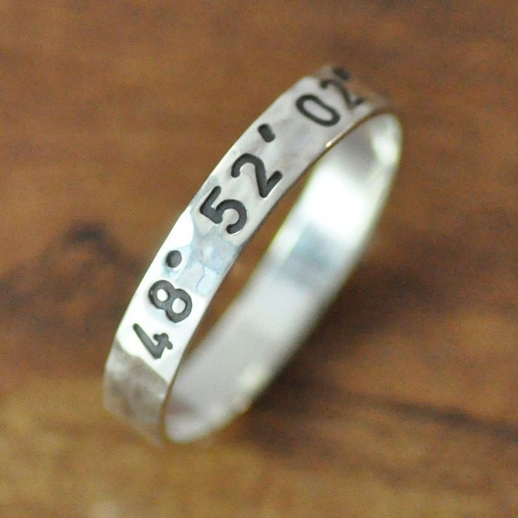 Personalized Engraved Coordinates Promise Rings