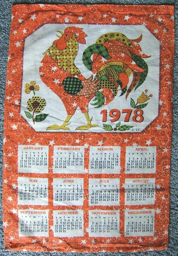 Rooster 1978 Calendar Cloth Linen Kitchen Dish Towel Orange Gold