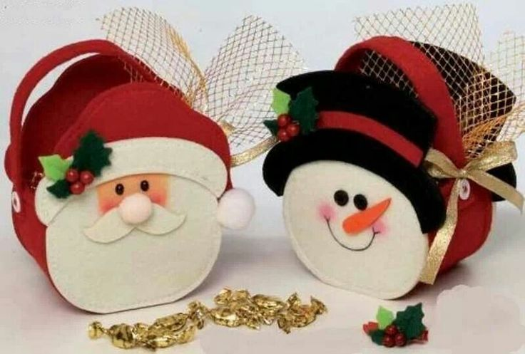 Santa y muñeco de nieve portacaramelos