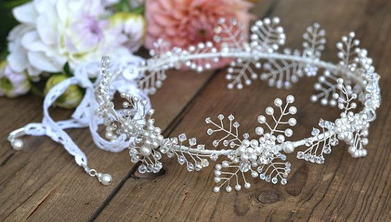 Boho floral bridal crown wedding hair by JoannaReedBridal on Etsy