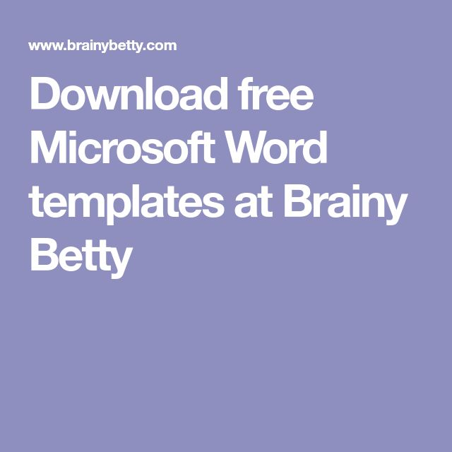 The 25 best microsoft word document ideas on pinterest office download free microsoft word templates at brainy betty toneelgroepblik Gallery