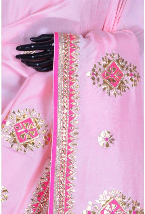 Pure Satin Embroidery-Baby Pink-Gota Work-WG203069