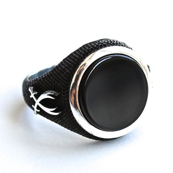 925 Sterling Silver Ring for Men with Black Onyx and Zulfiqar Swords