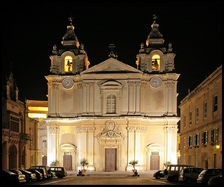 Beautiful Mdina Cathedral lite at night.