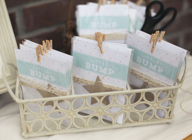 """ A Little Bump game was arranged in individual packets, guests could make their guess and tie their star-tassled twine to the old vintage garden ladder."" - PN member"