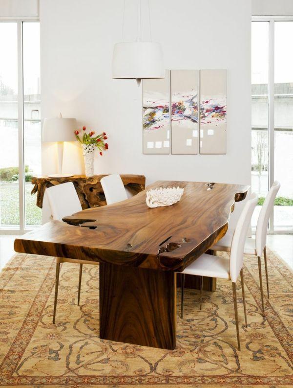 inspirierende holztische lassen die wohnung naturnah aussehen dining room pinterest cuisines. Black Bedroom Furniture Sets. Home Design Ideas