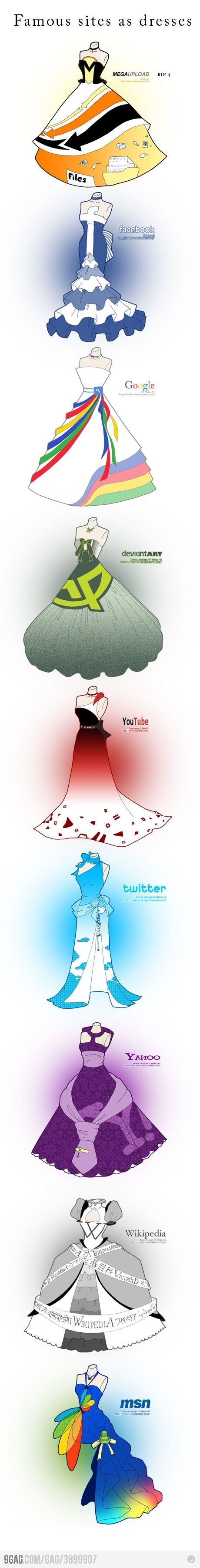 Famous sites as dresses:  *MegaUpload  *Facebook  *Google  *deviantART  *YouTube  *Twitter  *Yahoo  *Wikipedia  *msn