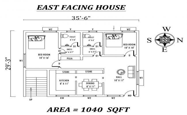 Autocad File Of Two Bedroom G 1 House Plan Download The Autocad Drawing File Cadbull House Plans Architecture House House