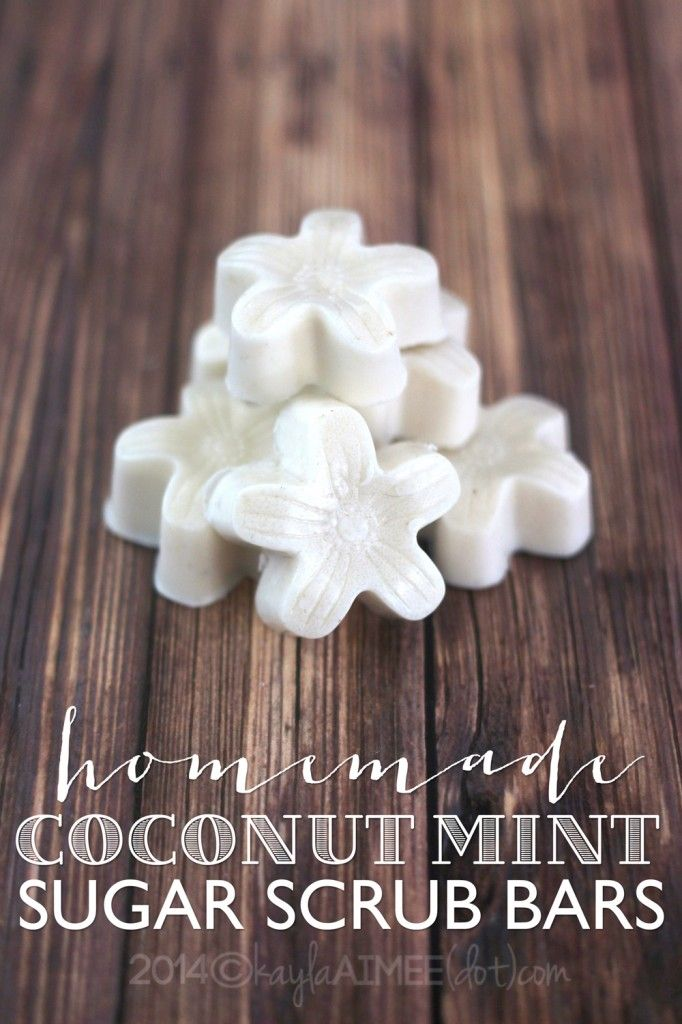 homemade coconut mint sugar scrub bars