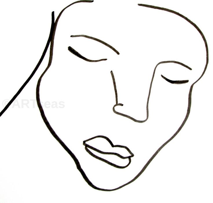 """Excited to share the latest addition to my #etsy shop: ORIGINAL Abstract Face Ink Drawing; Minimalist Female Face Drawing, Abstract Face Drawing; """"Serenity"""" http://etsy.me/2E0MoNj #art #drawing #white #black #originalface #abstractface #faceabstract #femaleface #female"""