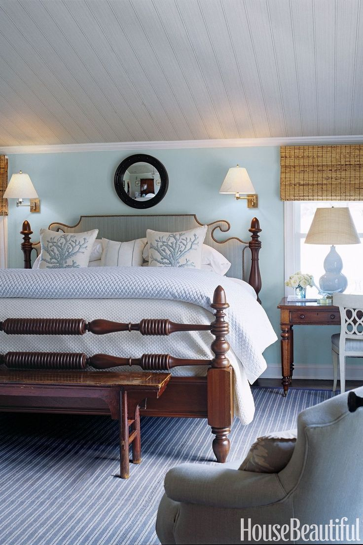 """Lullaby. """"With this calming blue-gray, the room expanded. It's a restful color, very tranquil and easy on the eyes."""" - Designer Phoebe Howard. Read more on which paint color best suits your small room at HouseBeautiful.com"""