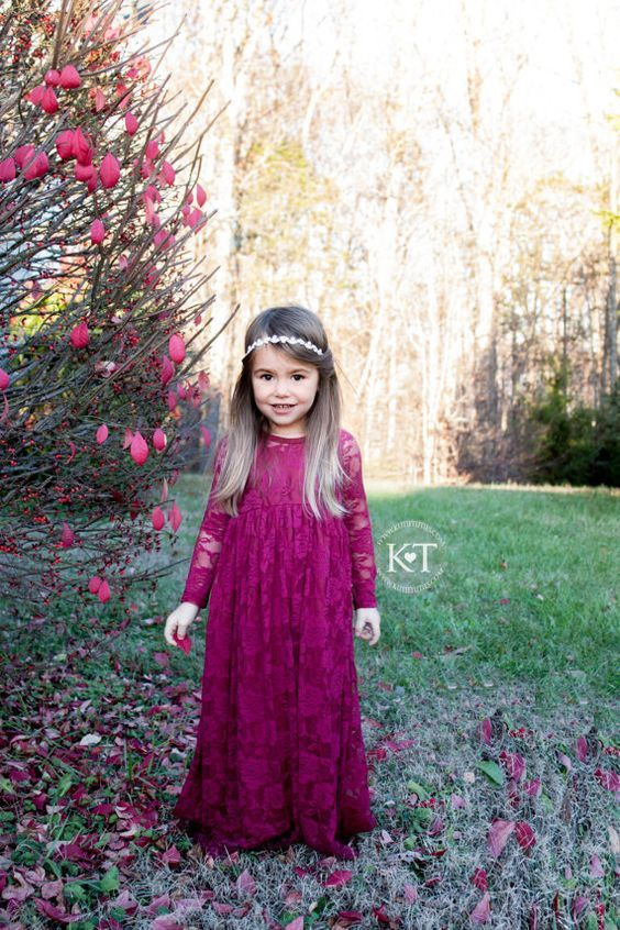 20 Fall Flower Girl Outfits That Are Just Too Cute: #4. Bold purple lace maxi dress