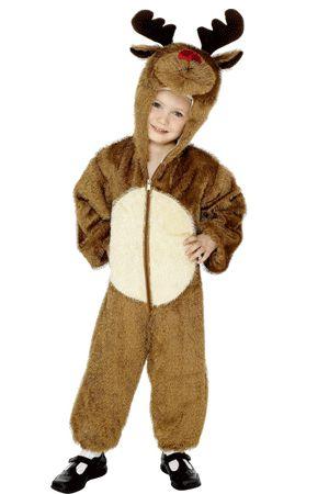 Pluche rendier kostuum voor kinderen. Leuk kerst kostuum voor kinderen met capuchon met gewei. De pluche rendier kostuums zijn geschikt voor kinderen tussen de 4 en 6 jaar.