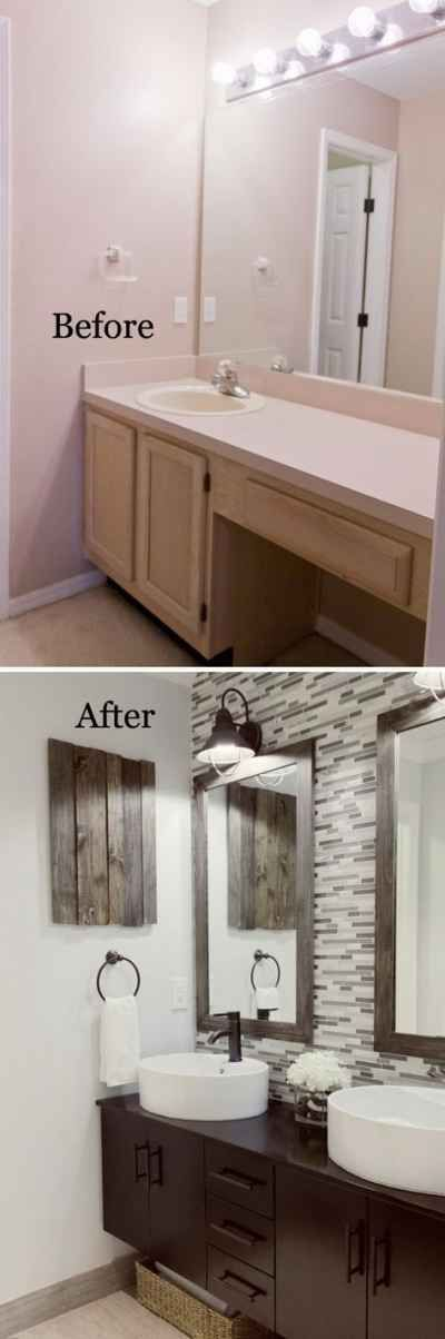Before And After  Remodel. Love the old wood used for medicine cabinet door.