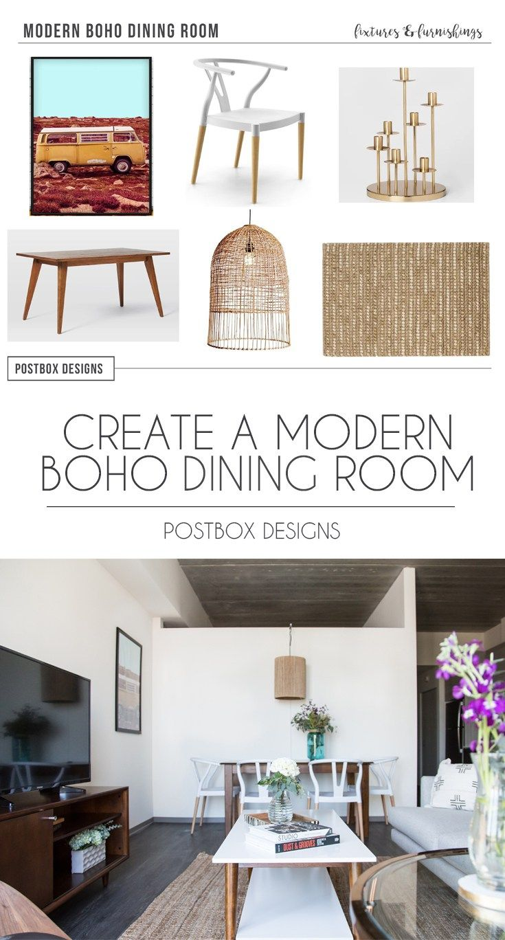 Postbox Designs Interior E Design Modern Boho Dining Room Makeover Reveal Online