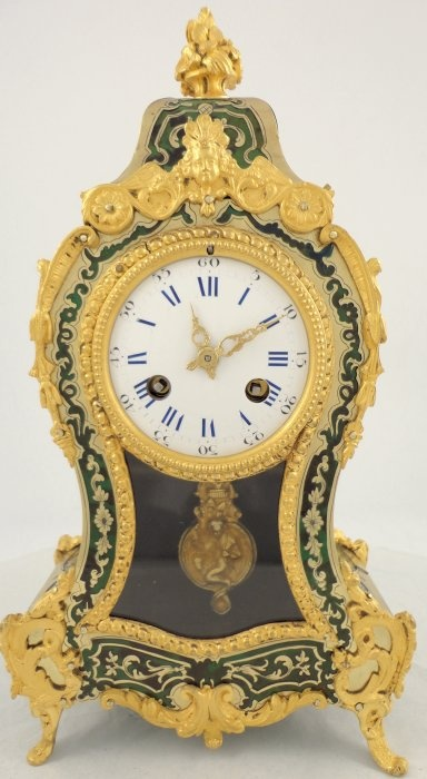 antique french green boulle mantel clock