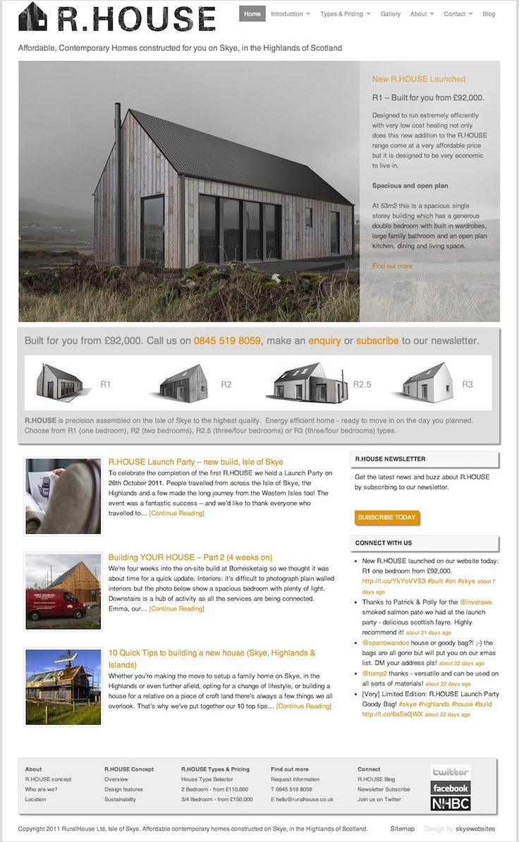 Logo and #website for R.HOUSE.  Ongoing online marketing and PR through Hunter Davies