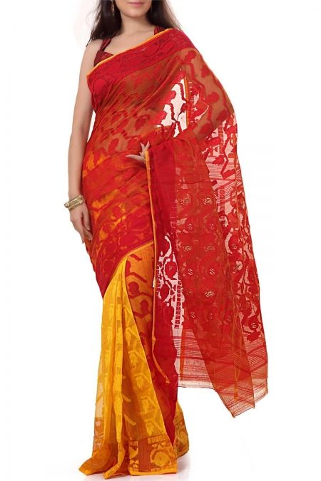 Red & Golden Yellow Dhakai Cotton Jamdani Saree