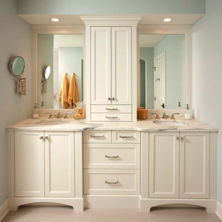 Best Bathroom Organization And Storage Images On Pinterest - Double sink vanity with center cabinet