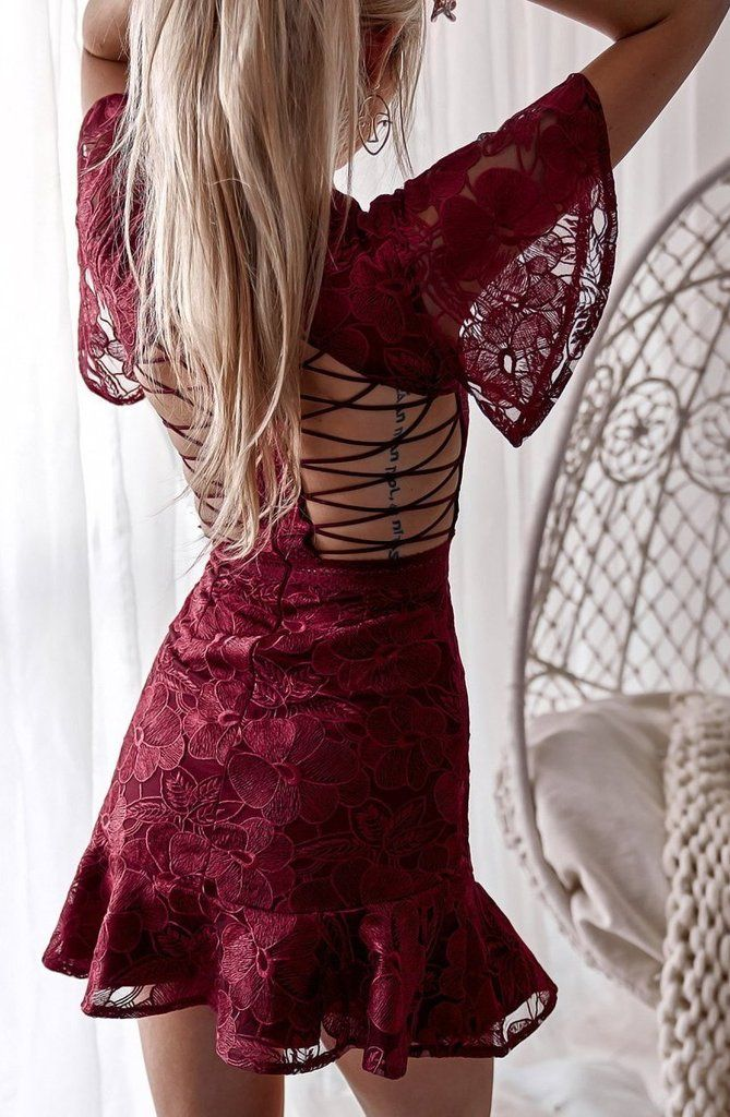 8e10c21743f0 Alexia Dress - Wine Red | Amazing lace dress for your special occasion! # dresses #guestoutfits #TwoSistersTheLabel #autumn