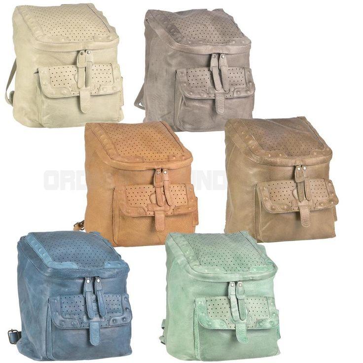 GREENBURRY Leder Rucksack Damenrucksack STAINWASHED 6 Sommerfarben pastell
