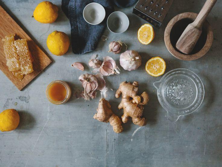 The Slowpoke: COLD + FLU WELLNESS SHOT // An all-natural immune boosting shot for colds and flu. #ginger #garlic #lemon #honey #how-to #DIY Photo: Luisa Brimble