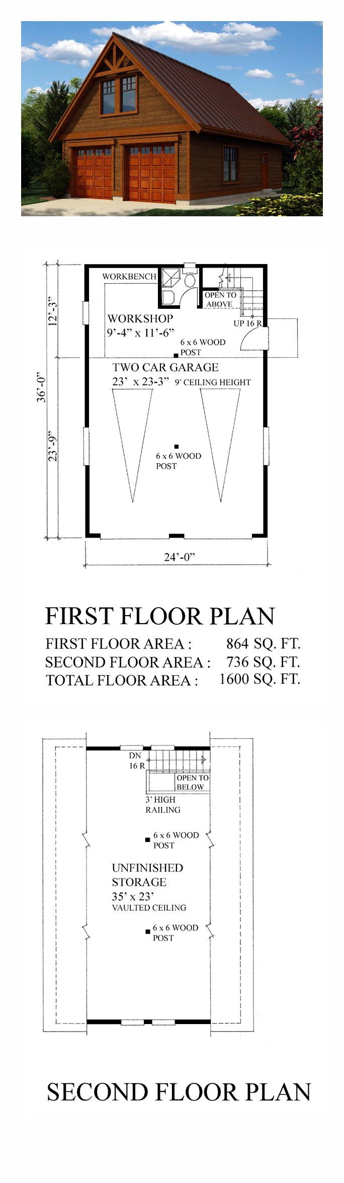 Two Car Garage Plan 76019 | Bonus Area: 736 sq. ft., Garage Area: 864 sq. ft., Garage Bays: 2, Width: 24', Depth: 36'