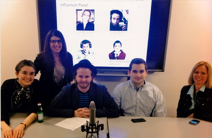 "NEW PIC: University of Toronto: ""Media Influencers Panel"" (Spring 2013): I'm pictured here with Eden Spodek (organizer) and fellow bloggers Andrew John Virtue Dobson, Zach Bussey and Kathy Buckworth. We each talked about how to use social media to reach your creative and business goals. (co-organizer, Martin Waxman, took the picture)."