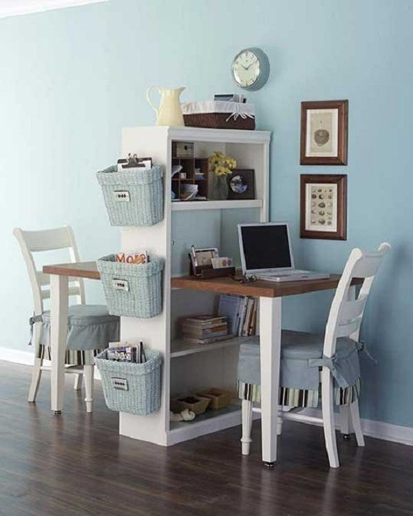 DIY Desk For Two - I can see this working in a bedroom shared by siblings, in a basement family room, or on a wall between the kitchen/dining room and living room.