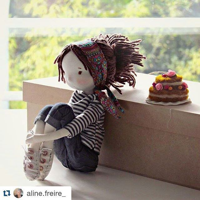 Aline #paodelilo #fabricdoll #handmadedoll #nakedcake