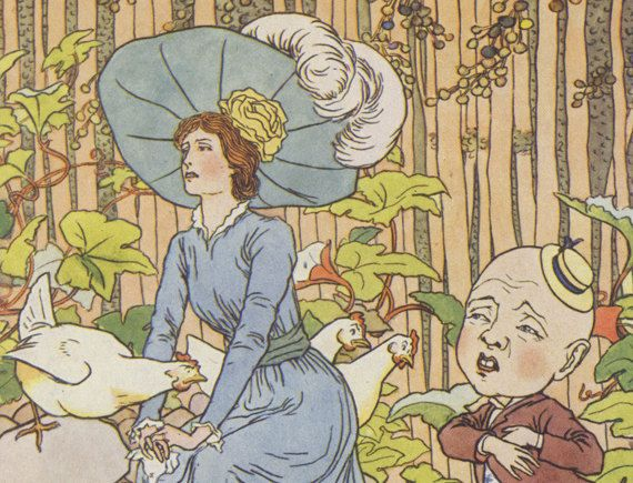 Vintage Print, 1950's, Jumblies, Yonghy Bonghy, Lady, Hat, Edward Lear, Nonsense, Verses, Children's Book Illustration, Nursery