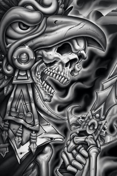 Chicano art - Aztec warrior