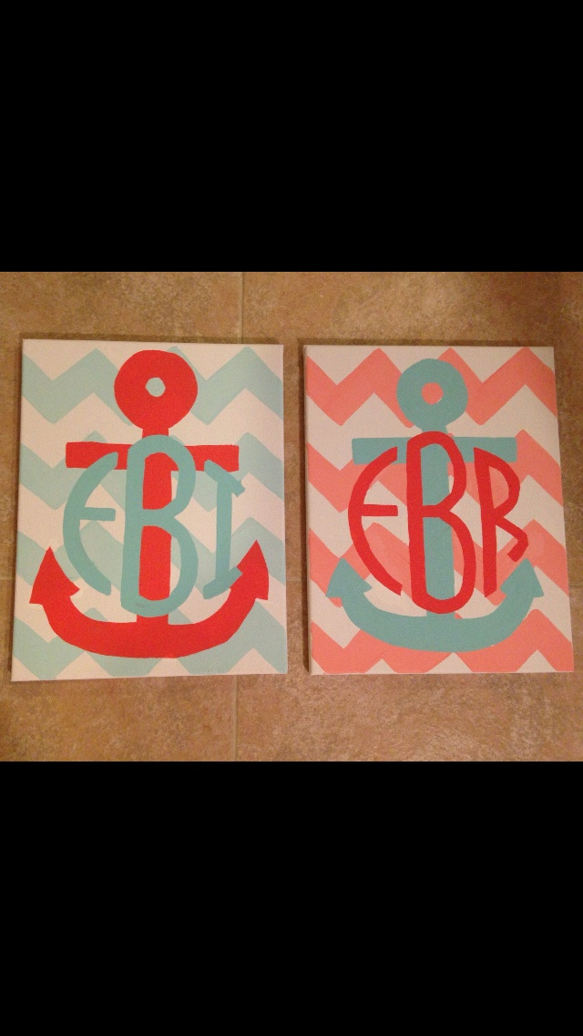 Coral and teal anchor monogram canvas!