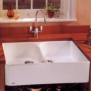 MHK720-35WH Franke Fireclay Double Bowl Apron Front Sink - White