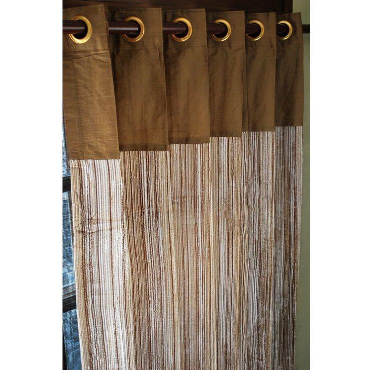 Earthy Velvet Pin Stripes And Golden Brown Silk Curtain Panels 52″x84″ Grommet Drapes Home Living Bedroom Decor Housewares Window Treatments